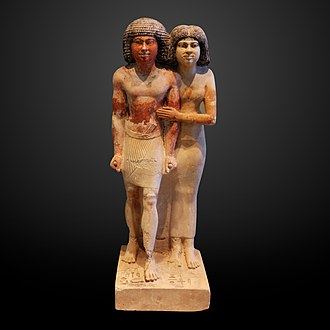 Portraiture in ancient Egypt - Statue of Raherka and Meresankh. Raherka is depicted with realistic looking musculature.