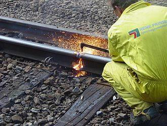Gas burner - Propane oxygen burner used for cutting through steel rails