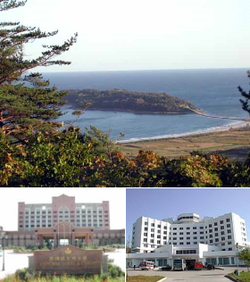 From top left: Pipasom Island, Emperor Hotel and Casino, & Rason Hotel