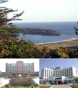 From top left: Bipaseom Island, Emperor Hotel and Casino, & Rason Hotel