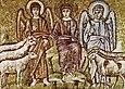 Ravenna, sant'apollinare nuovo cristo divide le pecore dai capretti (inizio del VI secolo)