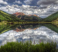 Red Mountain reflected in Crystal Lake (10 miles south of Ouray, Colorado).jpg