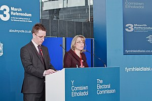 Welsh devolution referendum, 2011 - Referendum result announced at the Senedd by Jenny Watson