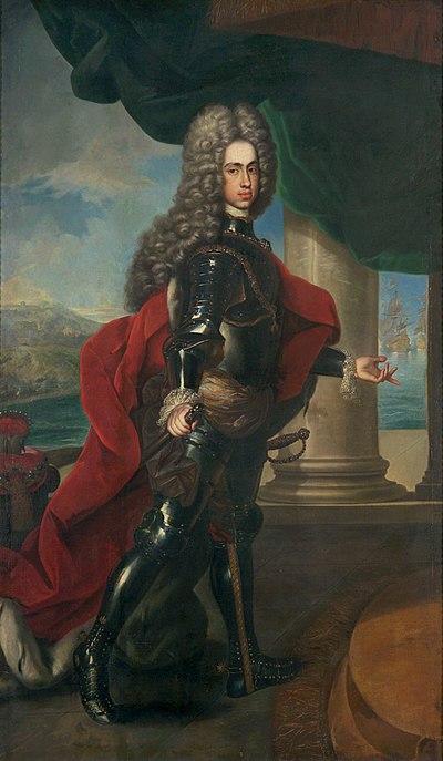 Retrato del archiduque Carlos ante el puerto de Barcelona, óleo de Frans van Stampart