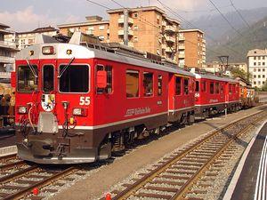 Rhaetian Railway ABe 4/4 III - ABe 4/4 III 55 and 56 at Tirano station.