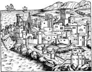 1493 Woodcut engraving depicting the city of Rhodes by Hartmann Schedel