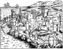 1493 Woodcut of the City of Rhodes, by Hartmann Schedel Rhodos1493.png