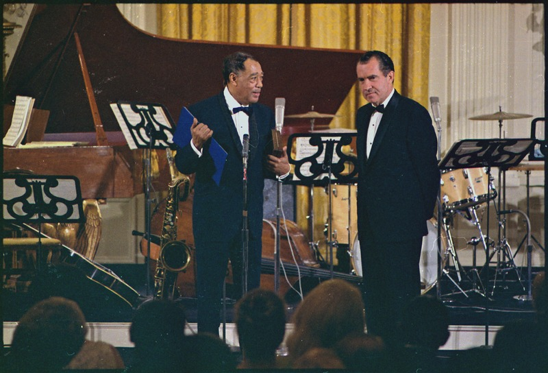 Richard M. Nixon presenting the Presidential Medal of Freedom to Duke Ellington. - NARA - 194289