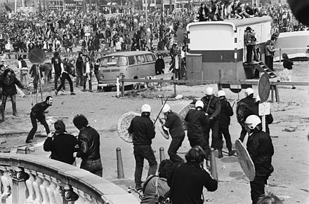 "The ""Battle of the Blauwbrug"" between protesters and police during the Coronation Riots. RiotsInaugurationBeatrix1980NL.jpg"