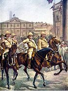 Lord Robert's entry into Kimberley, showing jubilant crowds outside the town hall as Roberts takes the salute on horseback