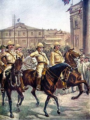 Frederick Roberts, 1st Earl Roberts - Lord Roberts enters the city of Kimberley after the relief of the besieged city during February 1900.