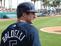 Rocco Baldelli on deck at Al Lang Field