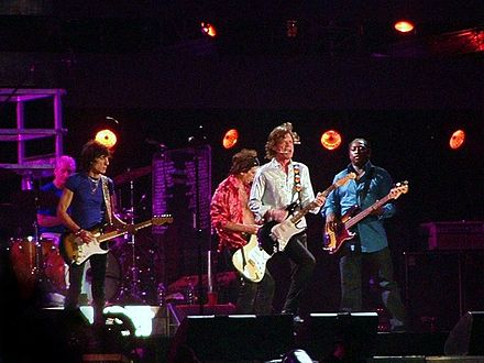 "The Oxford Dictionary of Music states that the term ""pop"" refers to music performed by such artists as the Rolling Stones (pictured here in a 2006 performance). Rolling stones - 11 luglio 2006 - san siro.jpg"