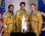 Ronald McNair, Guion Bluford, and Fred Gregory (S79-36529, restoration).jpg