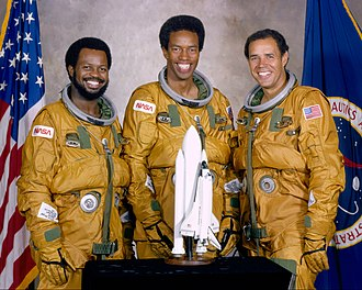 Some of NASA's first African-American astronauts including Ronald McNair, Bluford, and Frederick D. Gregory from the class of 1978 selection of astronauts. Ronald McNair, Guion Bluford, and Fred Gregory (S79-36529, restoration).jpg