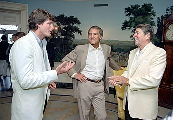 President Reagan talking with Christopher Reev...