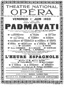Roussel - Padmâvatî - Poster of the first performance 1923.png