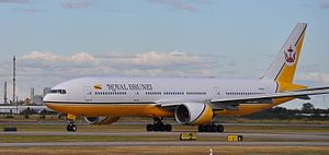 Royal Brunei Airlines - A Royal Brunei Boeing 777-200ER taxiing for takeoff at Brisbane Airport