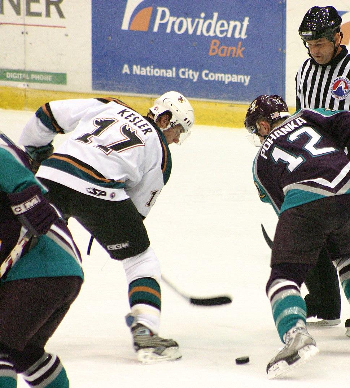 Ryan Kesler playing for the Manitoba Moose of the American Hockey League in November 2004 versus the Cincinnati Mighty Ducks