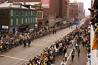 Steeler Nation - Steelers fans line the Boulevard of the Allies in downtown Pittsburgh for the Super Bowl XLIII victory parade in February 2009.