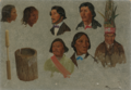 SEVEN INDIAN PORTRAITS AND ONE PRIMITIVE UTENSIL.PNG