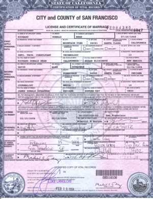 Same-sex marriage in California - Example of same-sex marriage license issued in San Francisco.