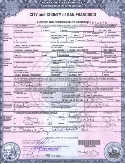 Example of same-sex marriage license issued in San Francisco. SF marriage license.png