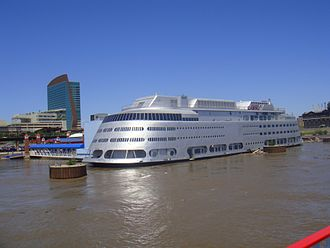 Streckfus Steamers - Admiral moored in the Mississippi River, just north of the St. Louis Arch
