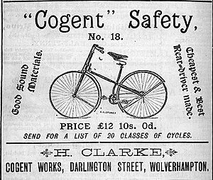 Safety bicycle - 1887 advertisement for a safety bicycle.