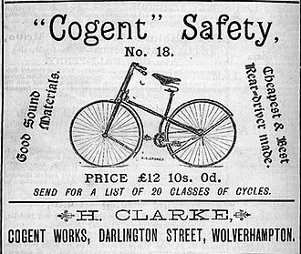 Safety bicycle - 1887 advertisement for a safety bicycle, Wolverhampton, England