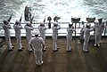 Sailors conduct a 21-gun salute during a Battle of Leyte Gulf Commemoration Ceremony. (35349243650).jpg