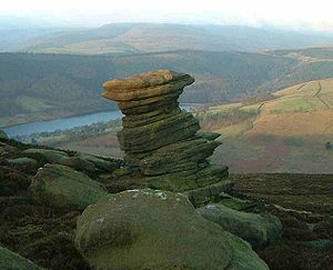 Millstone Grit - The Salt Cellar, a gritstone tor on Derwent Edge in the Peak District, England