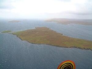 Samphrey - Samphrey and the view down Yell Sound