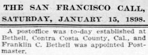 Bethel Island, California - Newspaper clipping from San Francisco Call January 15, 1898