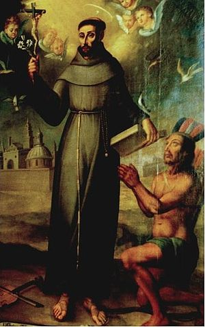Francis Solanus - St. Francisco Solano with a native of Tucuman (Anonymous, ca. 1588) (Notice his trademark violin on the ground by his right foot)