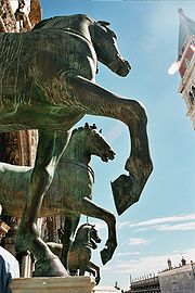 These Horses of Saint Mark are a replica of the Triumphal Quadriga captured in Constantinople in 1204 and carried to Venice as a trophy