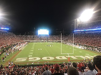 "Sanford Stadium - Georgia fans ""light up"" Sanford Stadium with their cell phones at night during a game against Mississippi State in 2017."