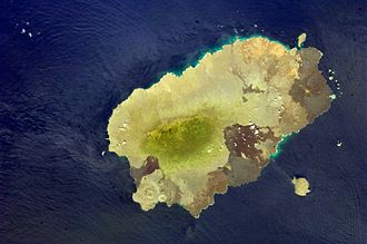 Santiago Island (Galápagos) - View of Santiago Island with south west at top (center)
