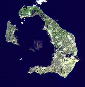 Santorini - Satellite image of Santorini caldera. The large island to the east is Thera, with Aspronisi and Therasia making up the rest of the caldera ring, clockwise. In the centre is the larger Nea Kameni and the smaller Palea Kameni.