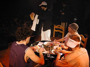 Bad Copy - The members of Bad Copy eating sarma onstage at their 2003 concert in Belgrade.