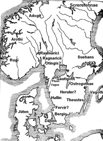 Herules - Map of Scandza based on Jordanes: Herulian homeland is located in Southern Sweden