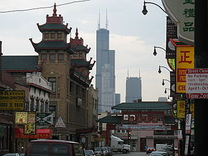 Willis Tower from Chicago Chinatown.