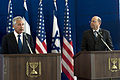 Secretary of Defense Chuck Hagel, left, conducts a joint press conference with Israeli Minister of Defense Moshe Ya'alon in Tel Aviv, Israel, on April 22, 2013 130422-D-BW835-470.jpg