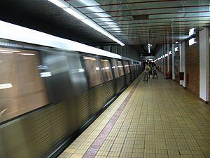 Bucharest Metro Line M1 - A Bombardier Movia train leaving Petrache Poenaru station.