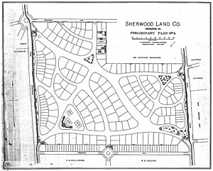 Sherwood Park (Richmond, Virginia) - Landscape drawing of Frederick L. Olmsted firm's 1892 plan for Sherwood Park, Richmond VA