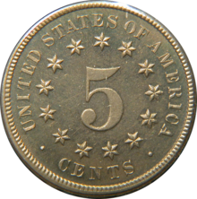 "A coin, with ""United States of America"" and ""cents"" surrounding a circle of thirteen stars, with a large numeral ""5"" within that"
