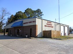 The town hall and volunteer fire department in Shorter, Alabama