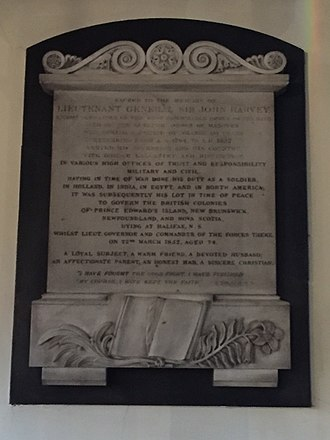 John Harvey (British Army officer) - Sir John Harvey, St. Paul's Church, Halifax, Nova Scotia, Canada