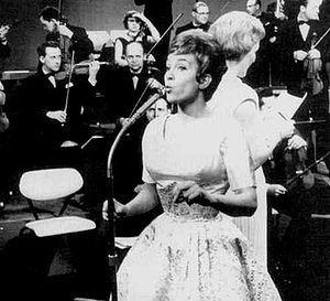 "Sweden in the Eurovision Song Contest 1961 - Siw Malmkvist singing ""April, april"" at Melodifestivalen 1961."