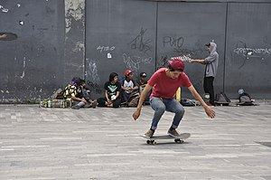 Freestyle skateboarding tricks - Image: Skateboarding at Mexico City Flip 092